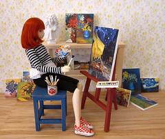 Olivia paints a picture