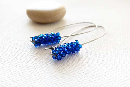 Deep blue chic minimalist earrings
