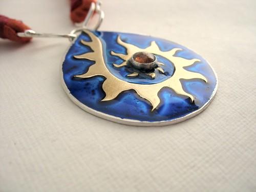 Custom spiral-sun pendant