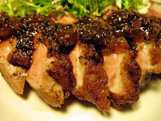 duck breast with gooseberry chutney