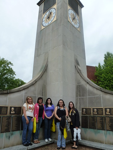The girls and the clock tower