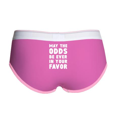 pink briefs that read may the odds be ever in your favor on the butt