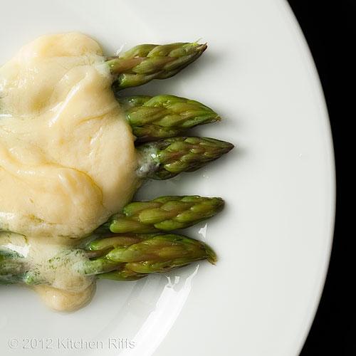 Roast Asparagus on Plate with Hollandaise Sauce, Overhead View