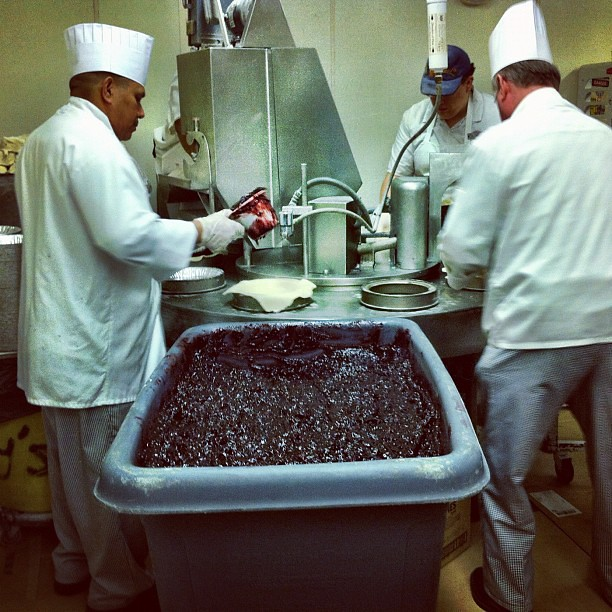 Watching boysenberry pies being made. #knottsphotos