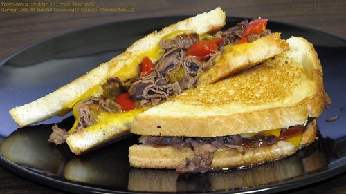 Provolone and cheddar BBQ roast beef melt by Coyoty