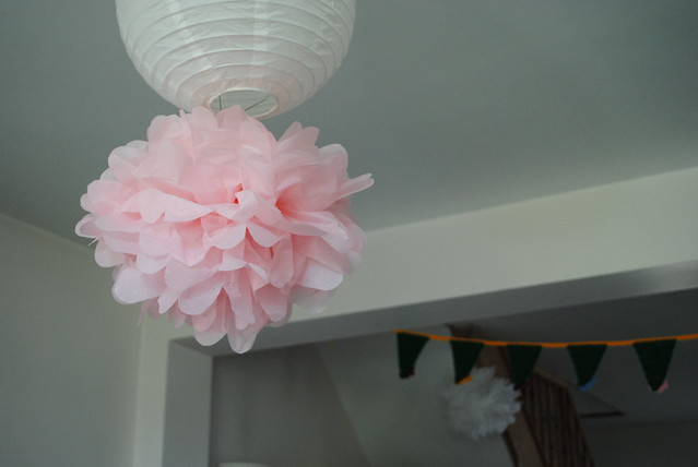 Pink paper pom pom