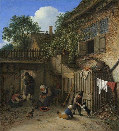 Adriaen van Ostade - The Cottage Dooryard [1673] by Gandalf's Gallery