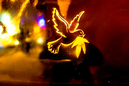 Street Art - Dove of Peace ( late at night) by infomatique