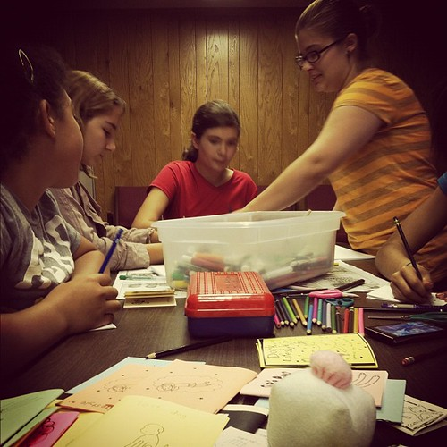 Making comic books with the Girl Scouts.