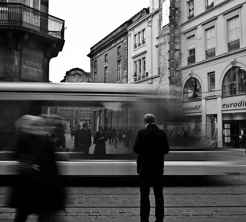 tramway photo ville noir et blanc pose longue