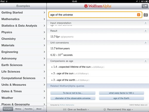 Search results in Wolfram|Alpha's iPad app are delivered as images, which seems a bit crap