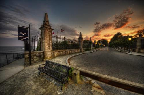 street ri sunset summer bench google colorful pentax empty bikes historic rhodeisland newport photowalk hdr hdri cliffwalk mansions tonemapped marineavenue pentaxart trigphotography frankcgrace