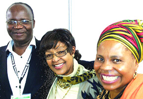 Zanu-PF delegation to the  ANC Policy Conference, Professor Jonathan Moyo, ANC National Executive Committee member Winnie Madikizela Mandela and Senator Monica Mutsvangwa pose for a photograph on the sidelines of the conference ending June 29, 2012. by Pan-African News Wire File Photos