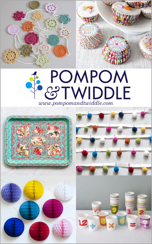 Gorgeous products from the newly launched, British based online boutique Pompom & Twiddle, including Emma Lamb's hand crochet flower garlands.