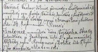 1886 Marriage Record Detail: Joseph Vanac and Antonie Straka, Zamlyni, Czech Republic