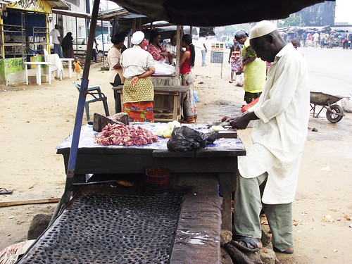 Locally made beef stew sold in Bagnon market at Yopougon, Abidjan, Côte d'Ivoire