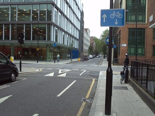 Maple Street/Whitfield Street facing south (shows 2-way cycling)