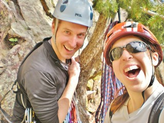 Jeffrey and Clare at Start of Swanson's Arete (5.5)