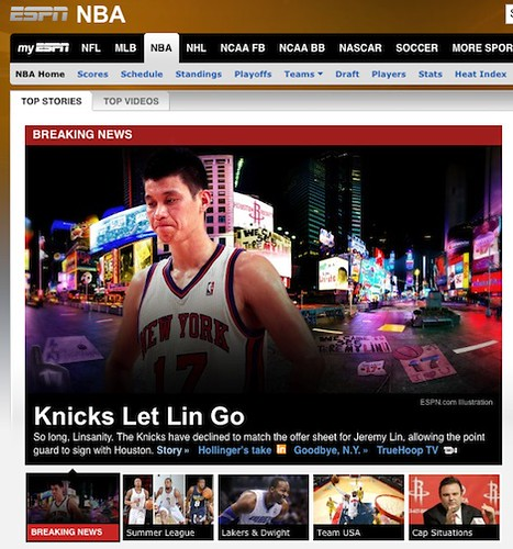 July 17th, 2012 - ESPN headline that Jeremy Lin is headed to Houston