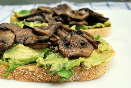 Roasted Mushroom and Avocado Open Faced Sandwich