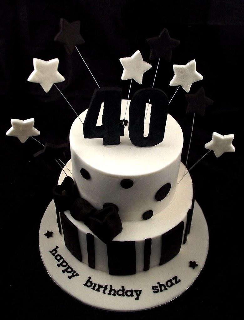 40th Birthday Cake Black White A Photo On Flickriver