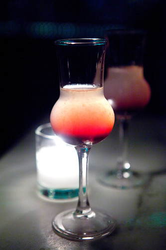 Digestif of lime juice, vodka, and cassis liqueur