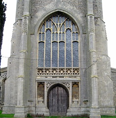 The west door and window (c.1460), the Church of St Mary, Mildenhall, Suffolk