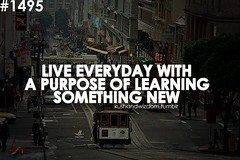 Live everyday with purpose of learning something new.