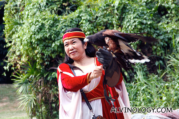 A lady in costume and the art of falconry