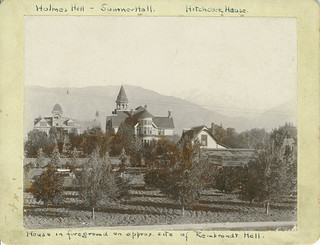 Pomona College campus (1895), looking north. Holmes Hall is on the left; Sumner Hall is center.
