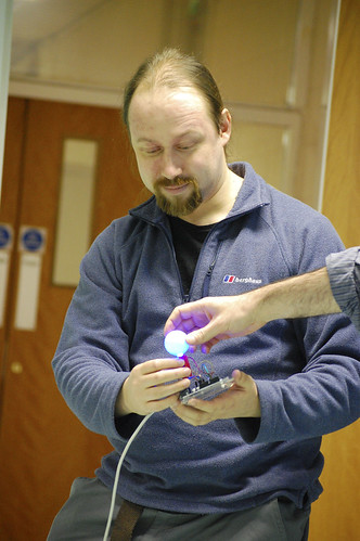 Paul Freeman demonstrates the garden sensor lights
