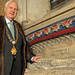 PHILIP STURROCK, Chairman of United  St Saviour's Charity, at the tomb of Thomas Cure in Southwark Cathedral, May 2012.