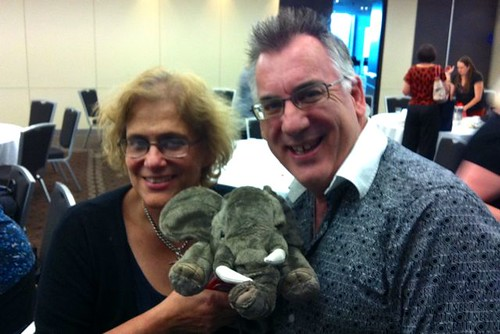 Susanne and Ian with elephant puppet