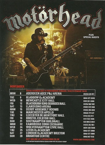 November 2010 Motorhead UK Tour
