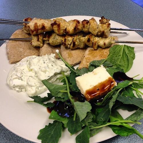 Opah! #homemade chicken souvlaki and Tatziki. #greekfood #imnotgreekbutiwishiwas
