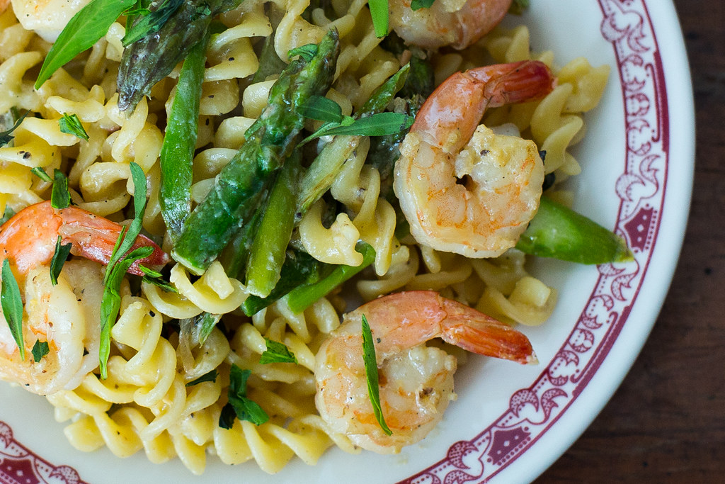 Asparagus Shrimp Miso Pasta