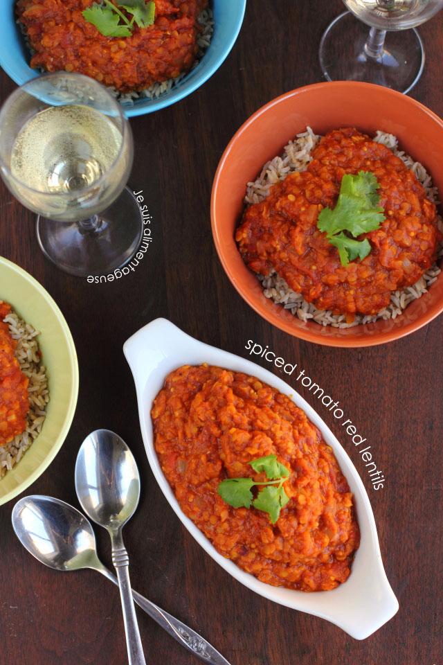 Spiced Tomato Red Lentils | Je suis alimentageuse #vegan #lentils