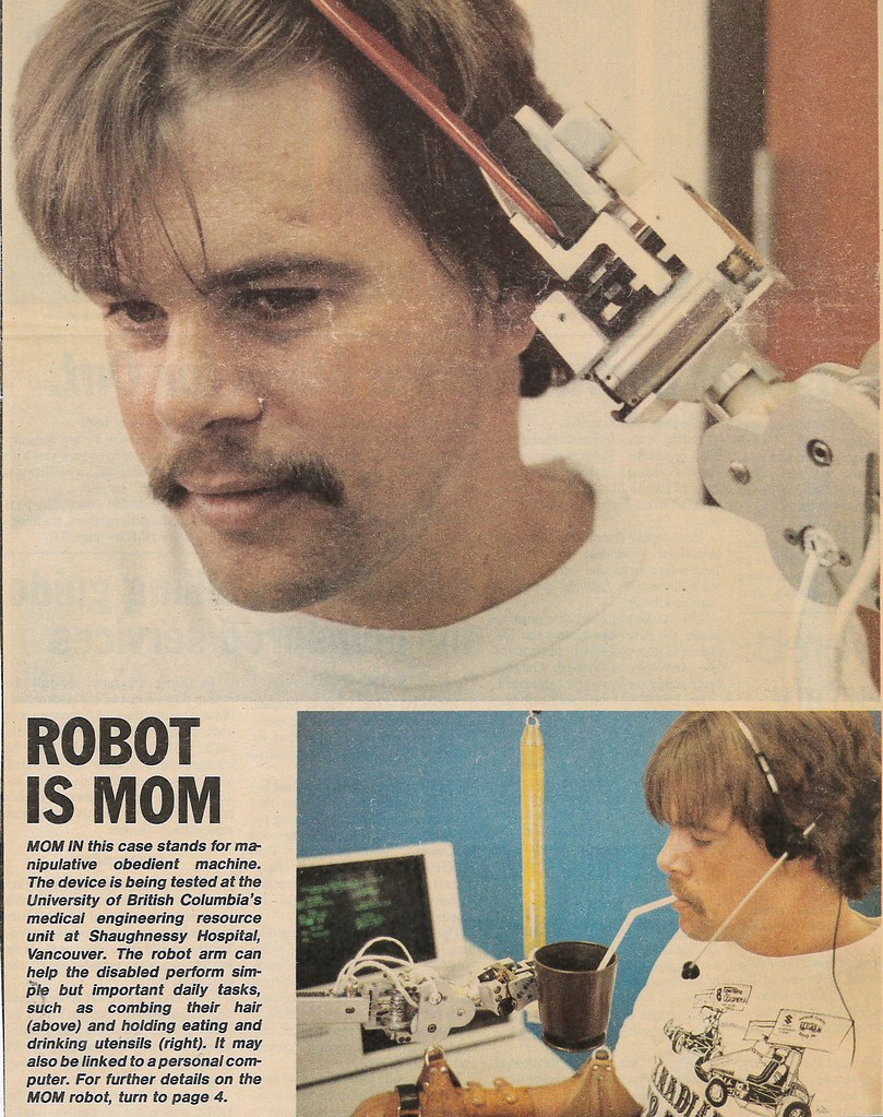 Magazine clipping. Article titled Robot Is MOM. Manipulative Obedient Machine.