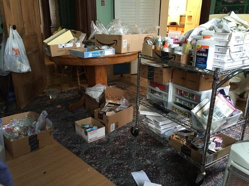 Begin my desk...midway through organizing supplies.