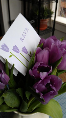 Goccoed RSVP card and tulips