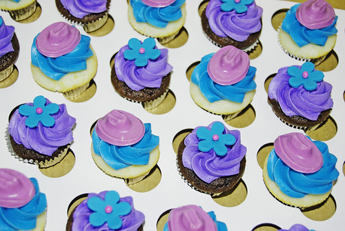 Turquoise and Purple Bridal Shower Mini Cupcakes cowboy hats and flowers