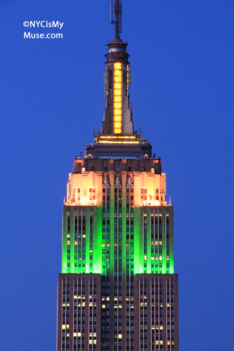 Close-up: Empire State Building in Easter Colors of Green, Pink, Yellow