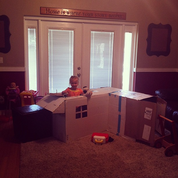 boxes make the best forts. Good job Daddy.