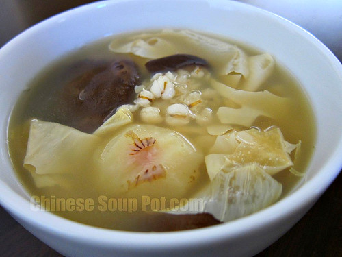 [photo-water chestnut bean curd barley soup]