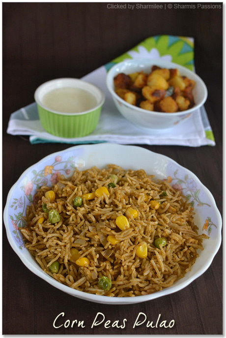 Corn Peas Pulao Recipe