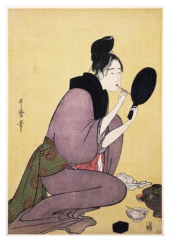 013-Pintandose los labios 1794-1795-Kitagawa Utamaro-NYPL
