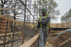 reinforced concrete, construction worker, foundation, iron, construction,