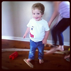 Day 30 - Toy - BabyCool has just discovered the joy of building {and dismantling} train tracks with his cousins & big sisters. #marchphotoaday