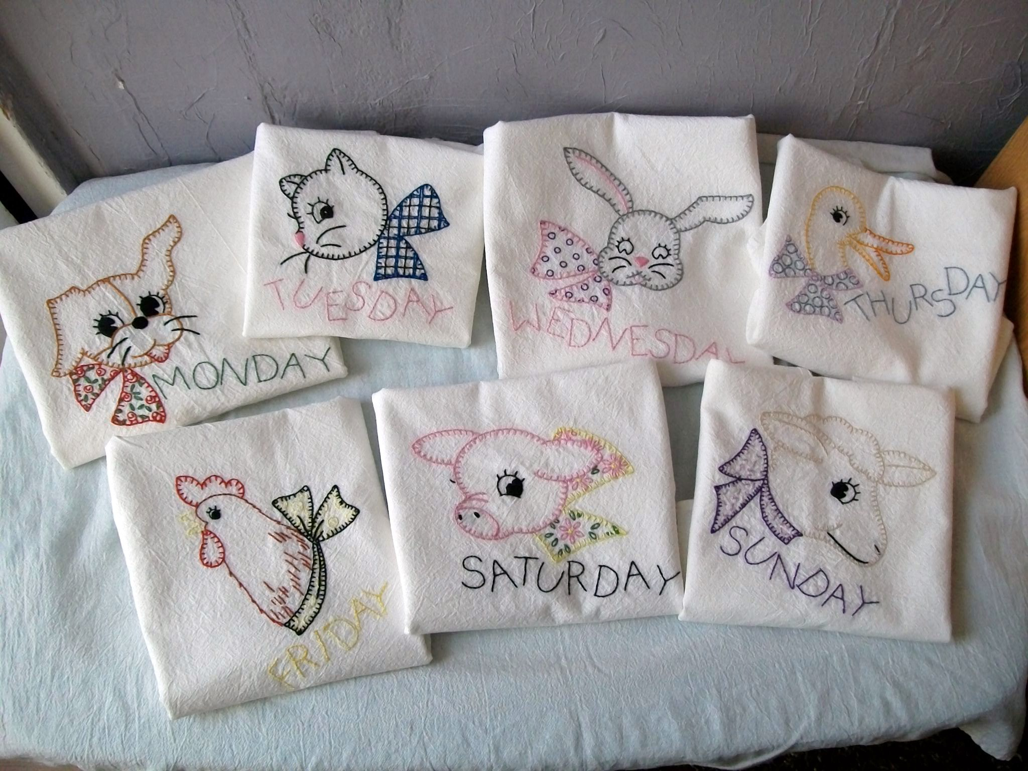 Days Of The Week Dish Towels Hand Embroidered Flickr Photo Sharing