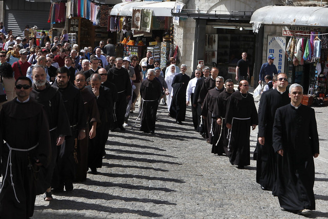 Roman Catholic Clergy During a Holy Thursday Procession in the Old City